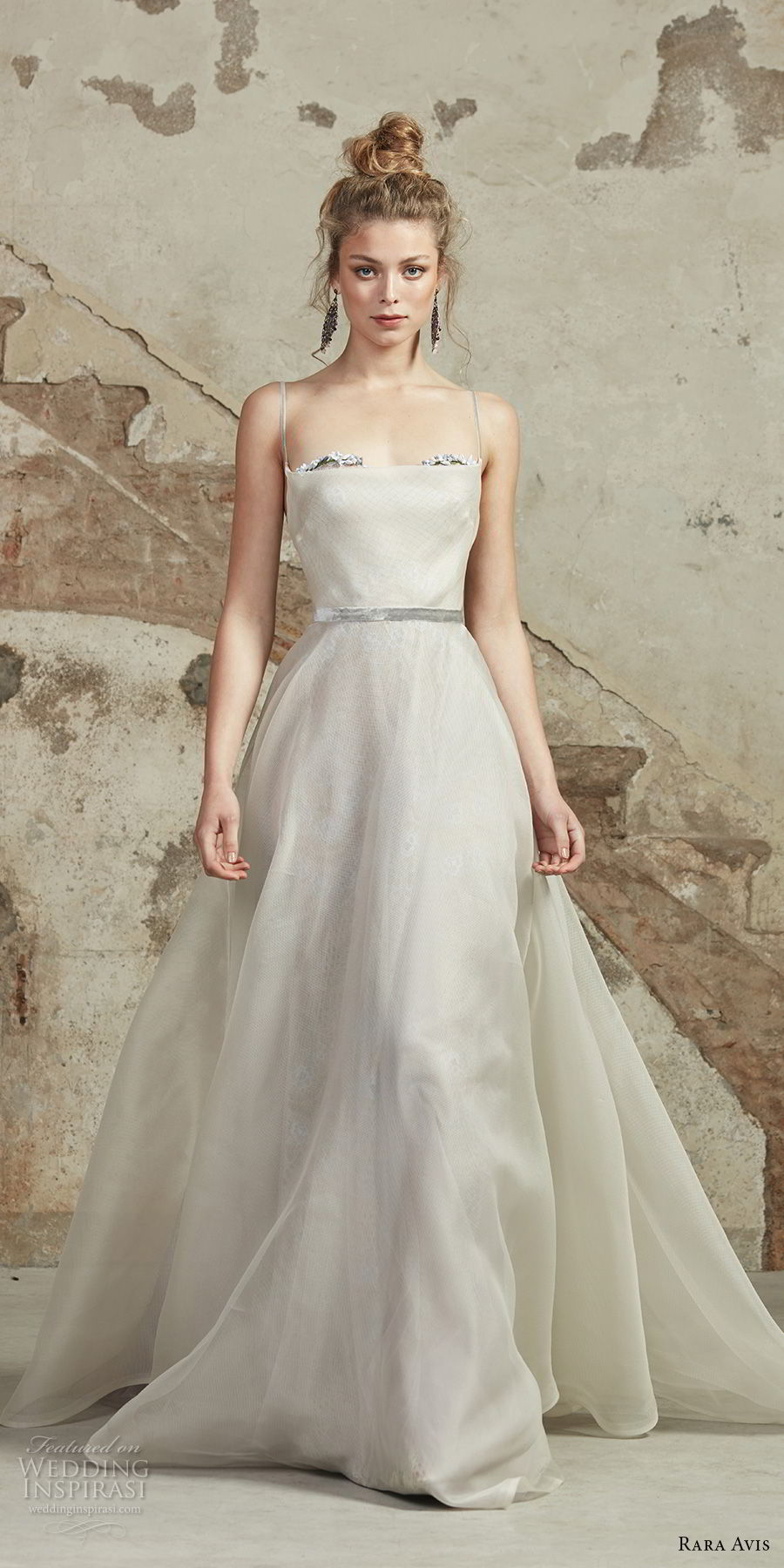 rara avis 2017 bridal spaghetti strap straight across necklne simple romantic a line wedding dress chapel train (8) mv
