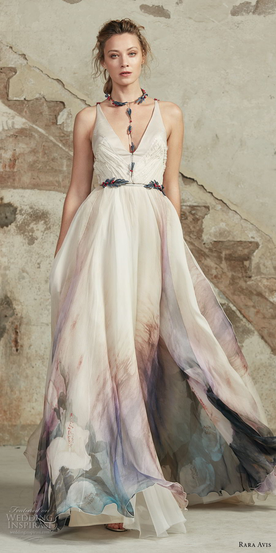 rara avis 2017 bridal strapless v neck lighly embellished colored prints romantic soft a line wedding dress open strap back medium train (23) mv