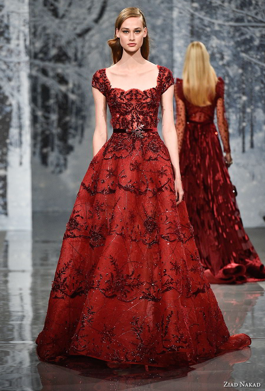ziad nakad couture fall 2017 cap sleeves square neckline full embellishment couture elegant red a  line wedding dress open square back medium train (7) mv