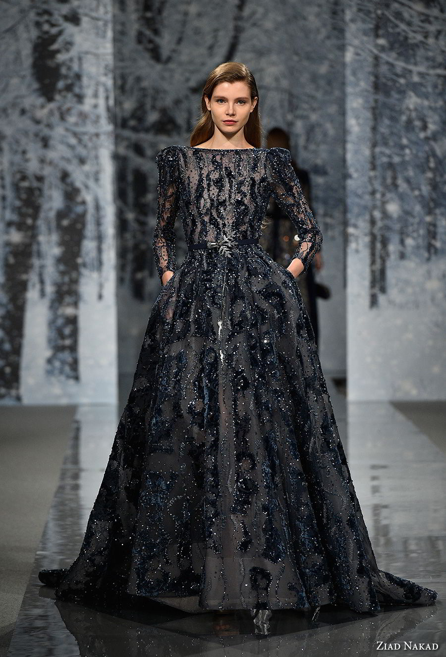 ziad nakad couture fall 2017 long gigot sleeves bateau neck full embellishment elegant glamorous couture dark blue a line wedding dress pockets open back chapel train (5) mv