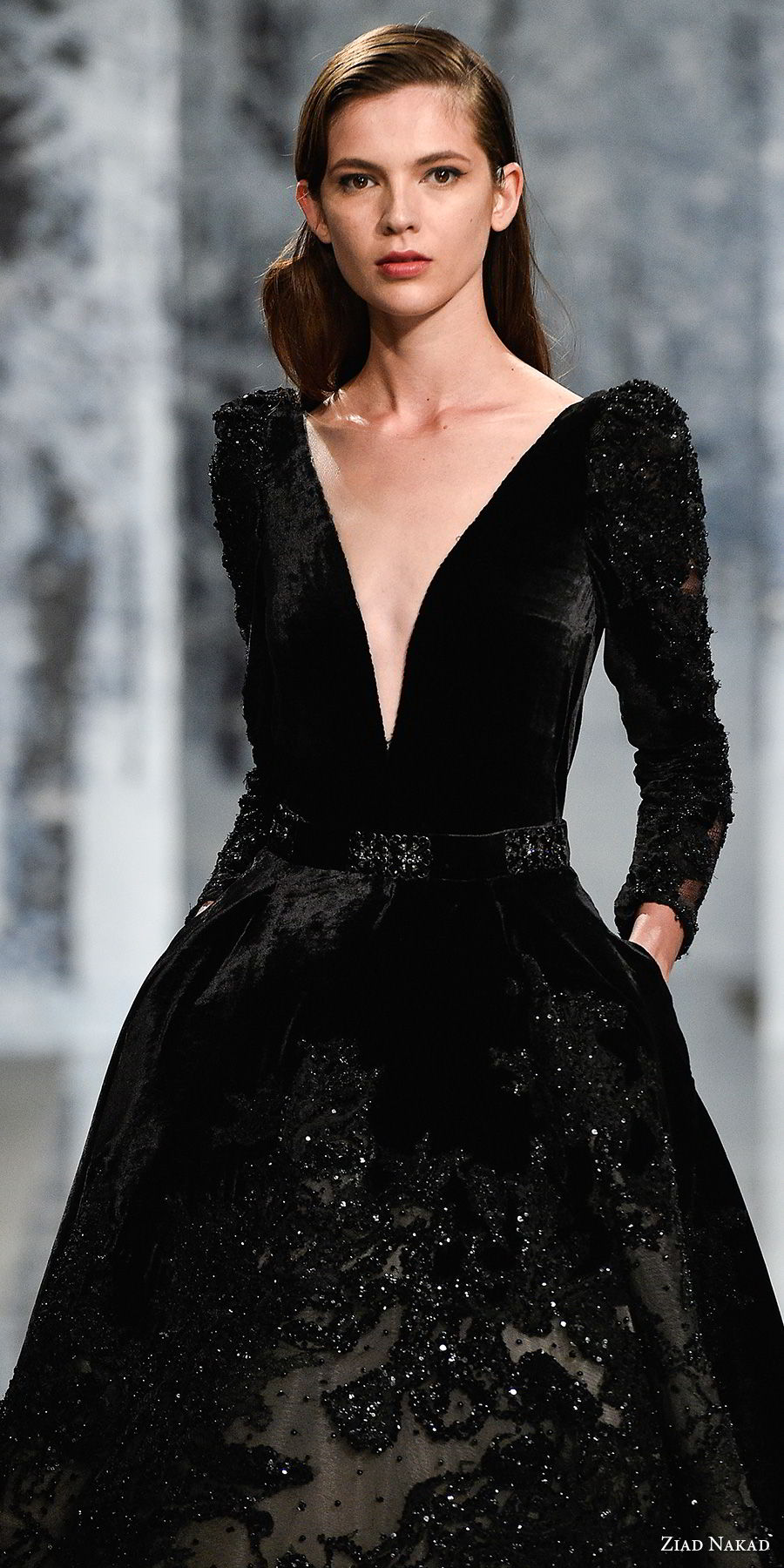 ziad nakad couture fall 2017 long gigot sleeves deep v neck full embellishment elegant black a line wedding dress with pockets open v back chapel train (2) zv