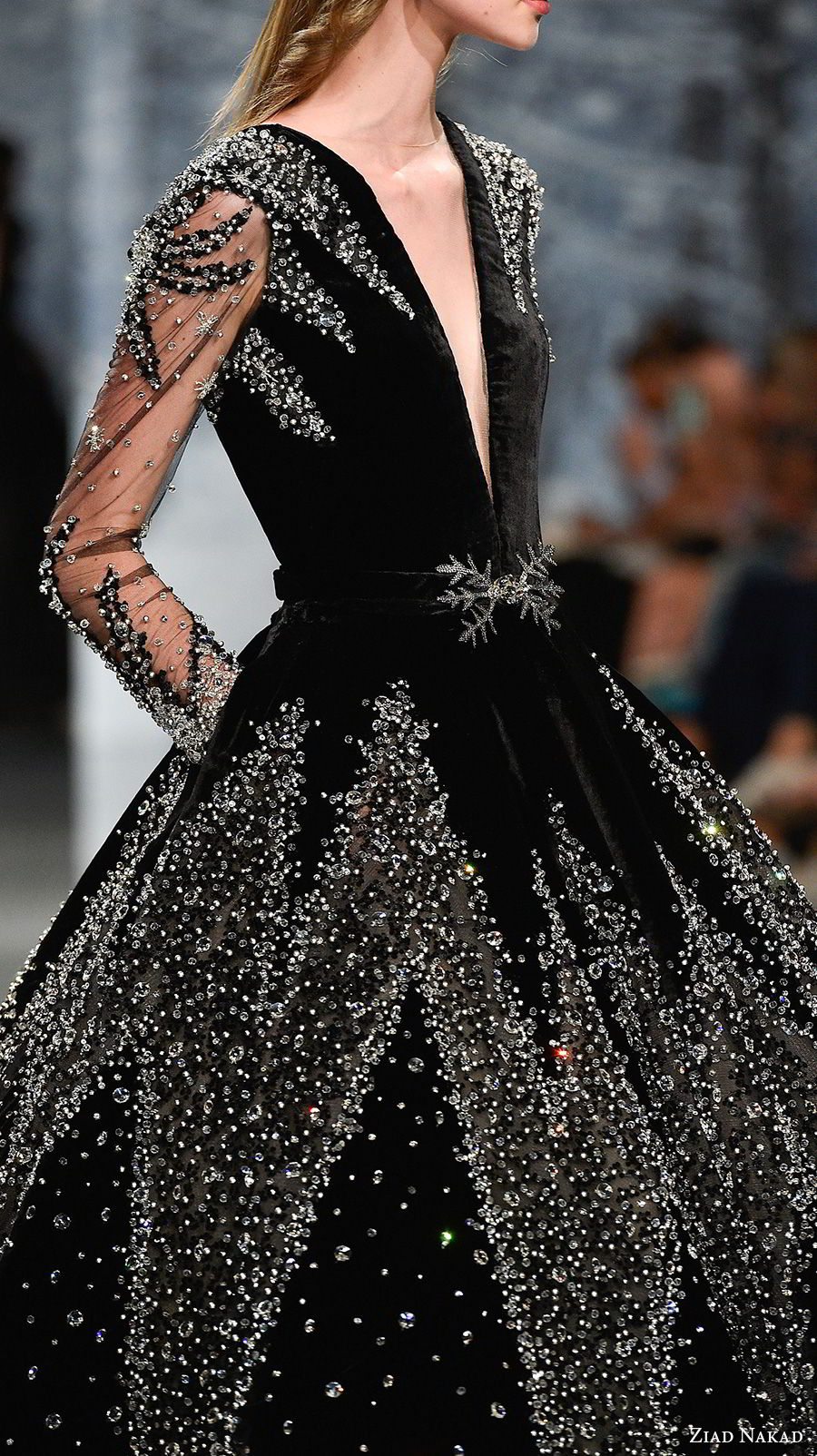 ziad nakad couture fall 2017 long sleeves deep plunging v neck full embellishment elegant glamorous black ball gown a line wedding dress pockets open v back chapel train (3) zsdv