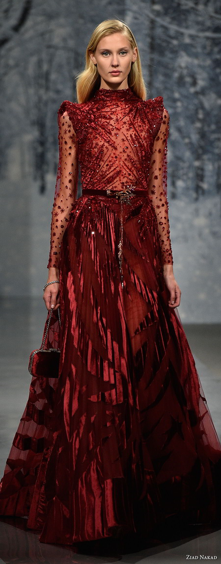ziad nakad couture fall 2017 long sleeves high neck full embellishment elegant glamorous red a  line wedding dress covered back medium train (22) mv
