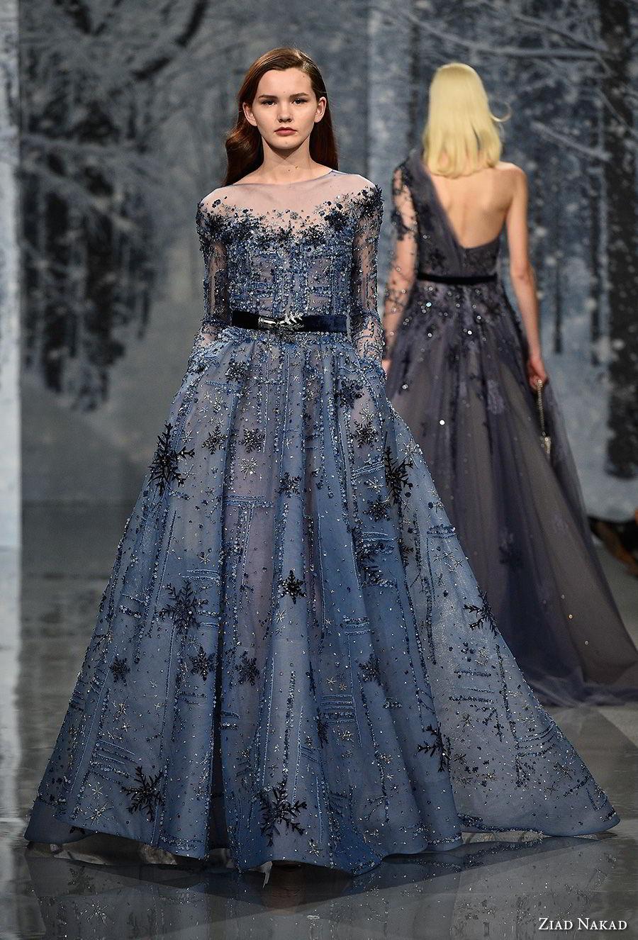 ziad nakad couture fall 2017 long sleeves illusion bateau neck full embellishment glamorous romantic blue a  line wedding dress covered back chapel train (12) mv