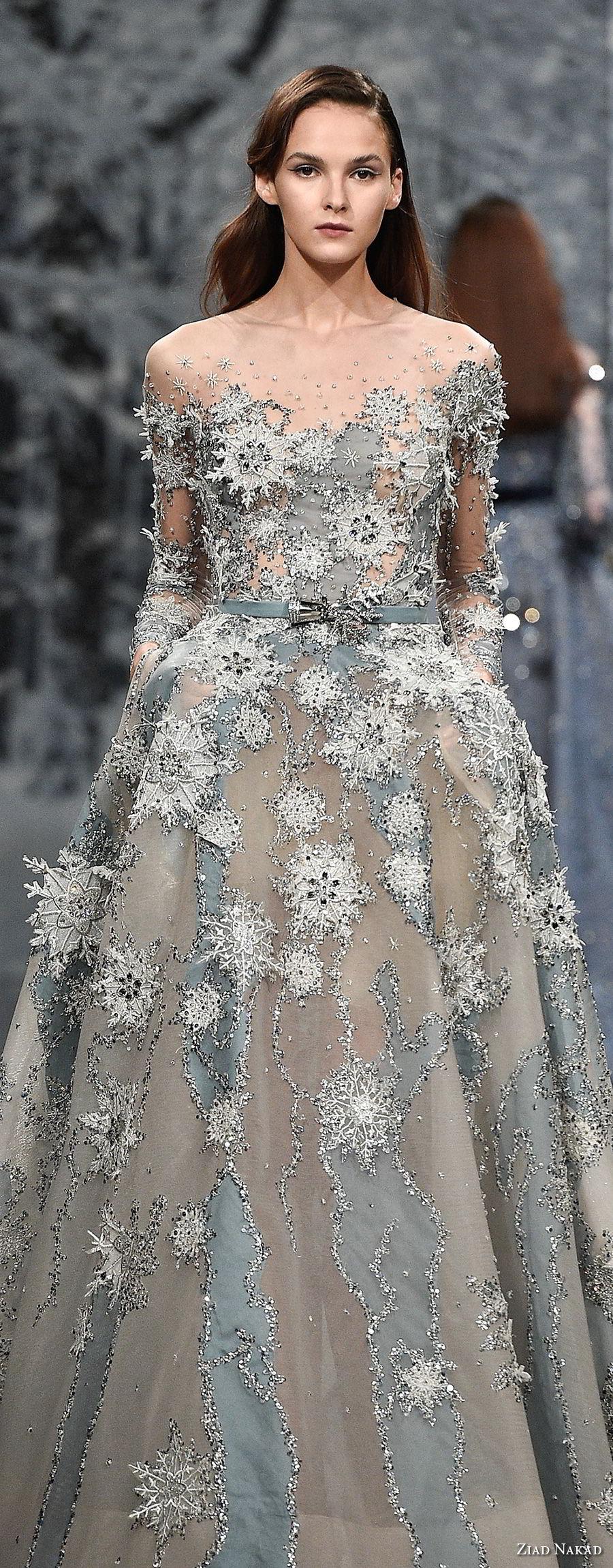 ziad nakad couture fall 2017 long sleeves illusion bateau neckline full embellishment romantic princess a  line wedding dress sheer button back chapel train (6) lv