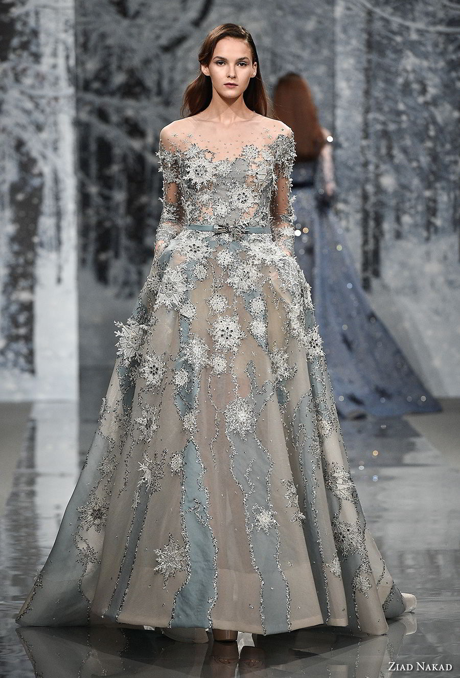 ziad nakad couture fall 2017 long sleeves illusion bateau neckline full embellishment romantic princess a  line wedding dress sheer button back chapel train (6) mv