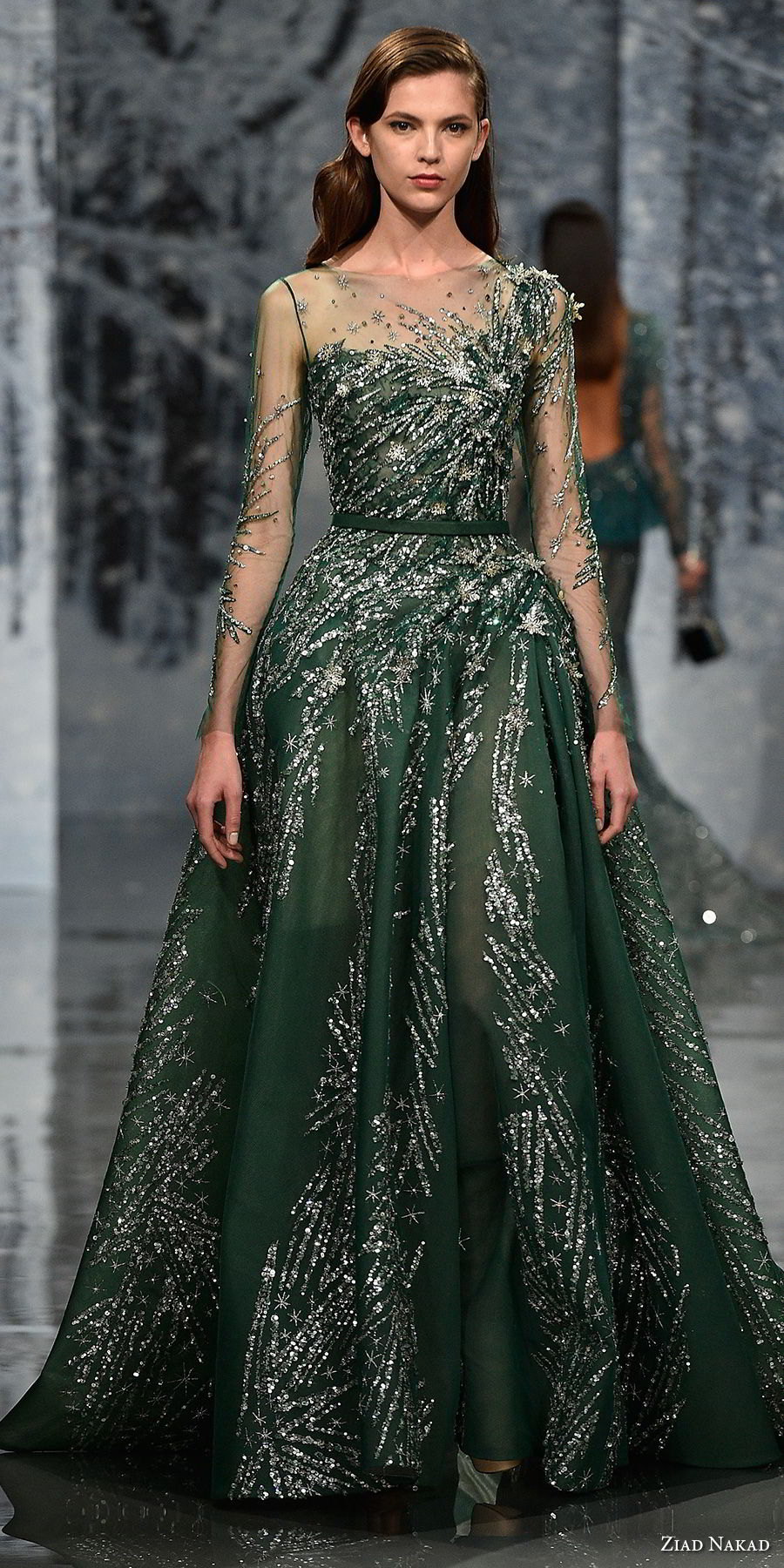 ziad nakad couture fall 2017 long sleeves illusion bateau one shoulder neckline full metallic embellishment elegant glamorous green a line wedding dress sheer button back medium train (20) mv
