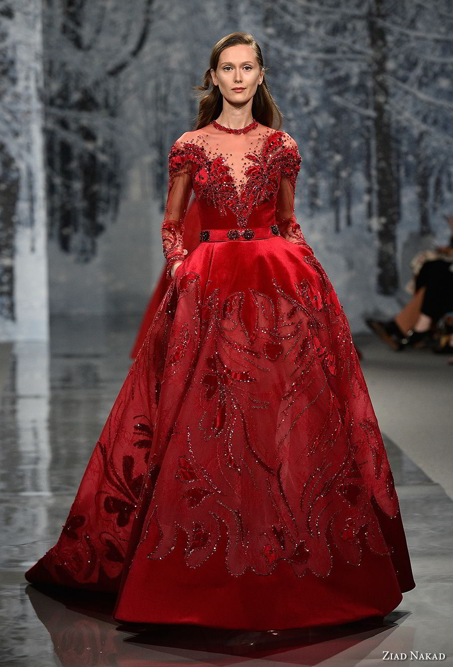 ziad nakad couture fall 2017 long sleeves illusion jewel deep sweetheart neckline full embellishment princess glamorous red ball gown a line wedding dress sheer back chapel train (24) mv