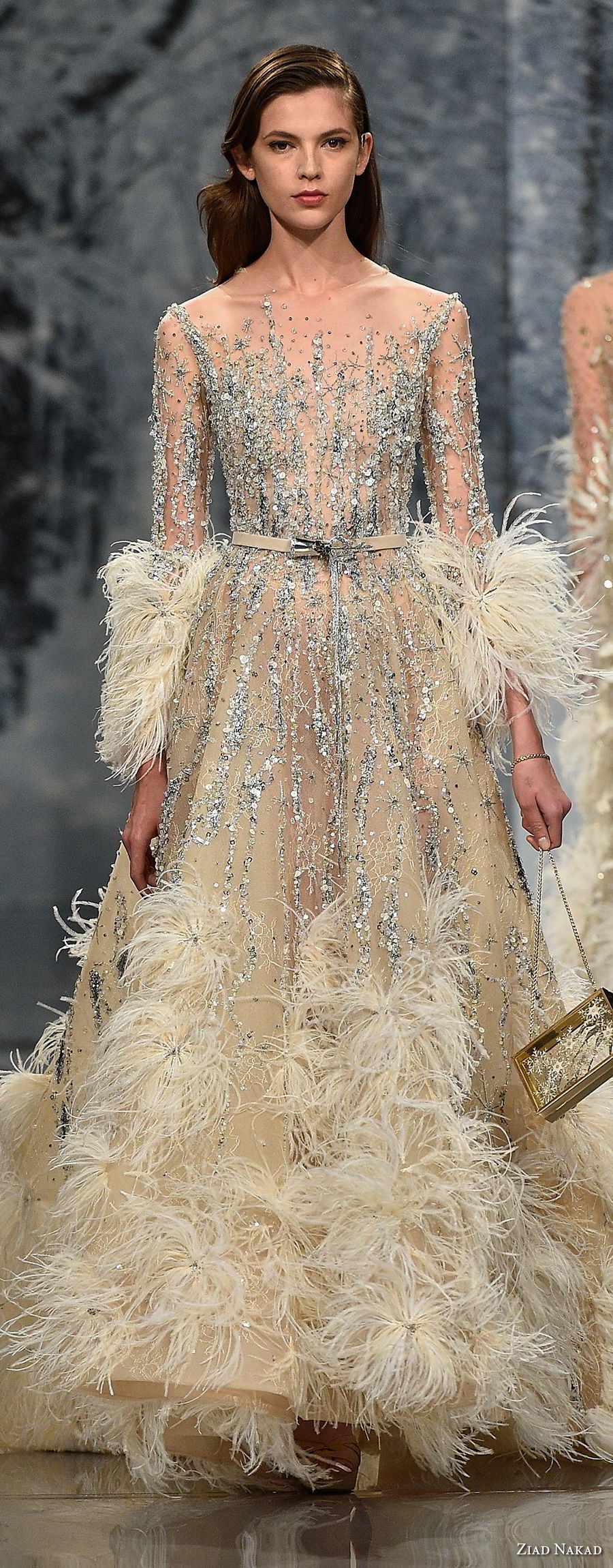 ziad nakad couture fall 2017 long sleeves illusion jewel full beaded feathers embellishment sophiscated couture a  line wedding dress sheer back chapel train (26) mv