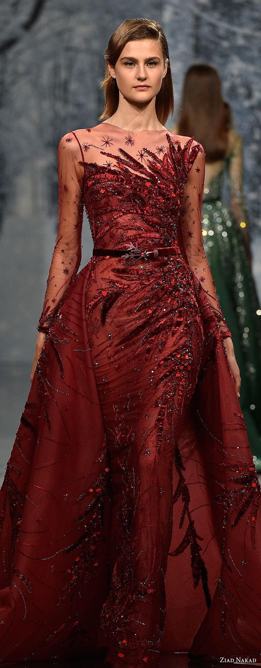 ziad nakad couture fall 2017 long sleeves illusion jewel heavily beaded embellishment glamorous red sheath wedding dress a  line overskirt sheer button back chapel train (21) lv