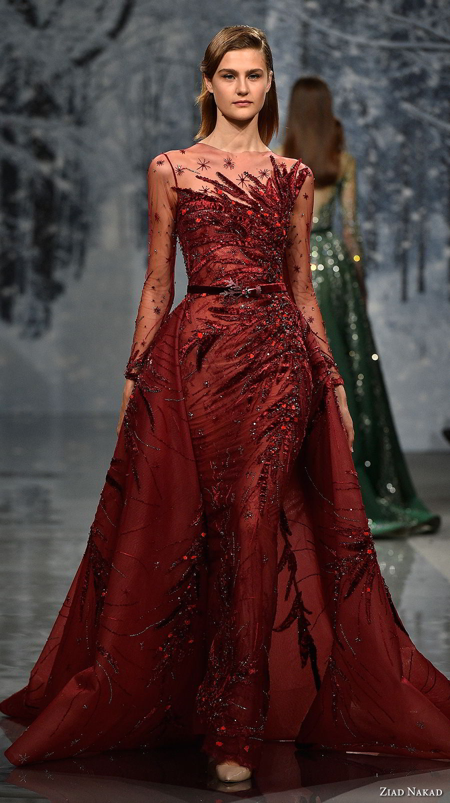 ziad nakad couture fall 2017 long sleeves illusion jewel heavily beaded embellishment glamorous red sheath wedding dress a  line overskirt sheer button back chapel train (21) mv