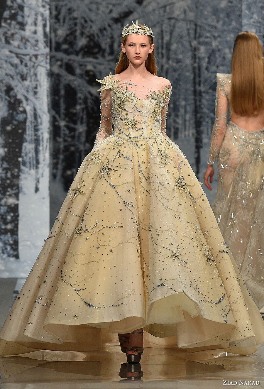 ziad nakad couture fall 2017 long sleeves illusion jewel sweetheart neckline full beaded embellishment princess yellow ball gown a  line wedding dress pockets covered back chapel train (28) mv