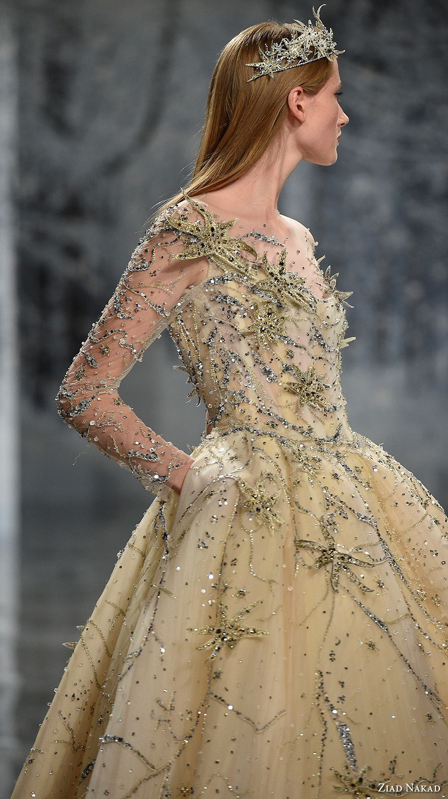 ziad nakad couture fall 2017 long sleeves illusion jewel sweetheart neckline full beaded embellishment princess yellow ball gown a  line wedding dress pockets covered back chapel train (28) sdv