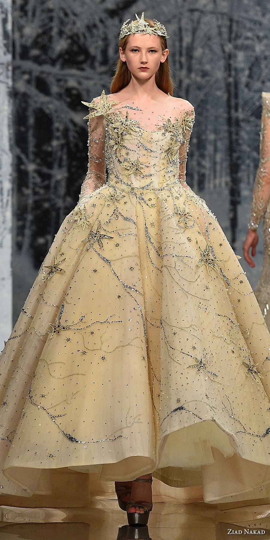 ziad nakad couture fall 2017 long sleeves illusion jewel sweetheart neckline full beaded embellishment princess yellow ball gown a  line wedding dress pockets covered back chapel train (28) zv
