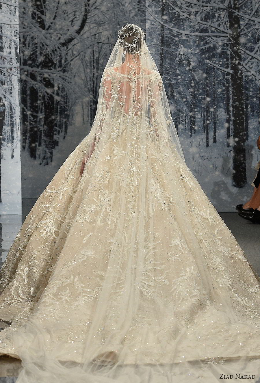 ziad nakad couture fall 2017 long sleeves scoop neckline full embellishment princess glamorous ball gown a line wedding dress sheer keyhole back royal train (29) bv