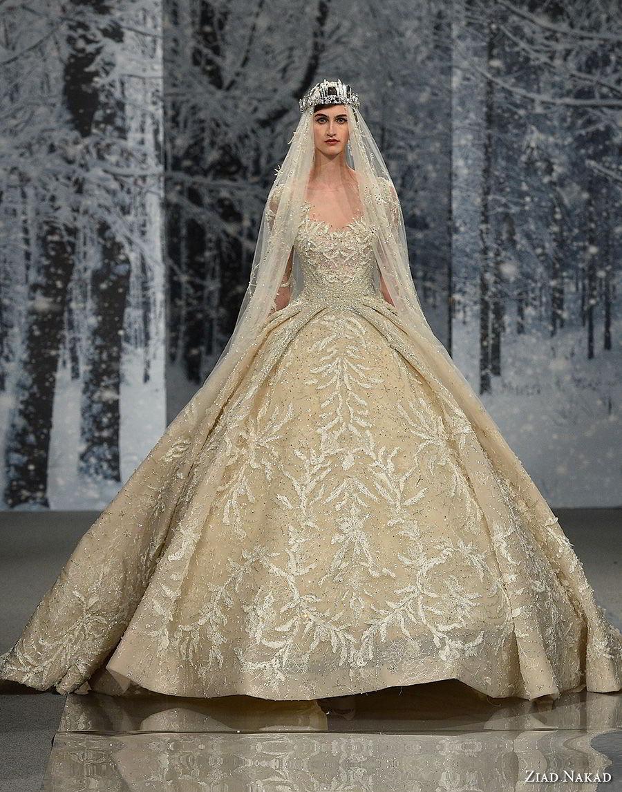 ziad nakad couture fall 2017 long sleeves scoop neckline full embellishment princess glamorous ball gown a  line wedding dress sheer keyhole back royal train (29) mv