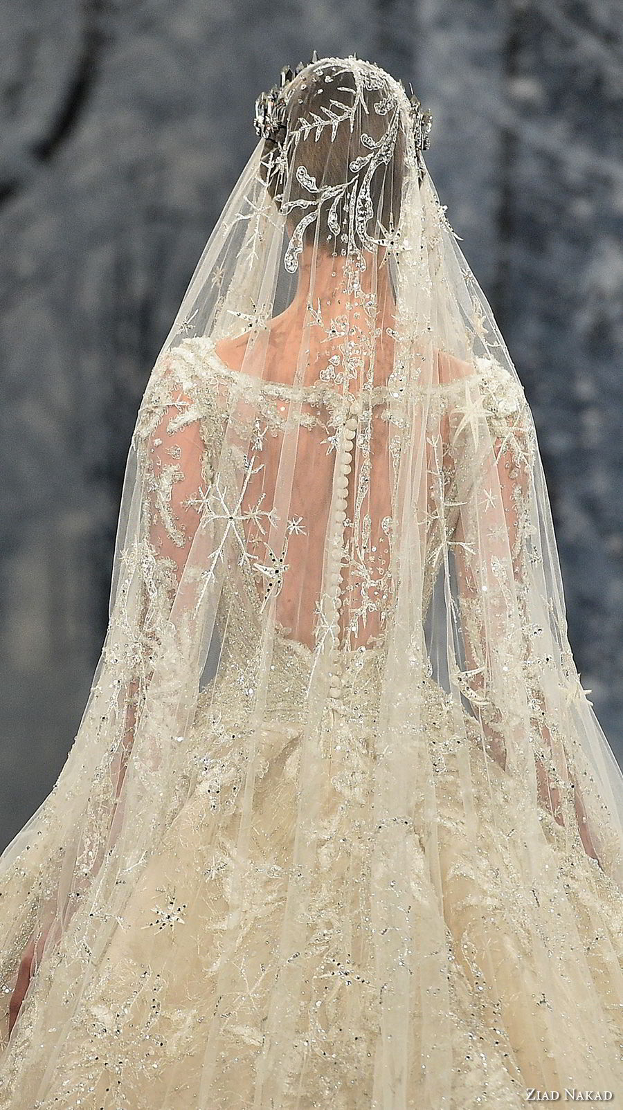 ziad nakad couture fall 2017 long sleeves scoop neckline full embellishment princess glamorous ball gown a  line wedding dress sheer keyhole back royal train (29) zbv