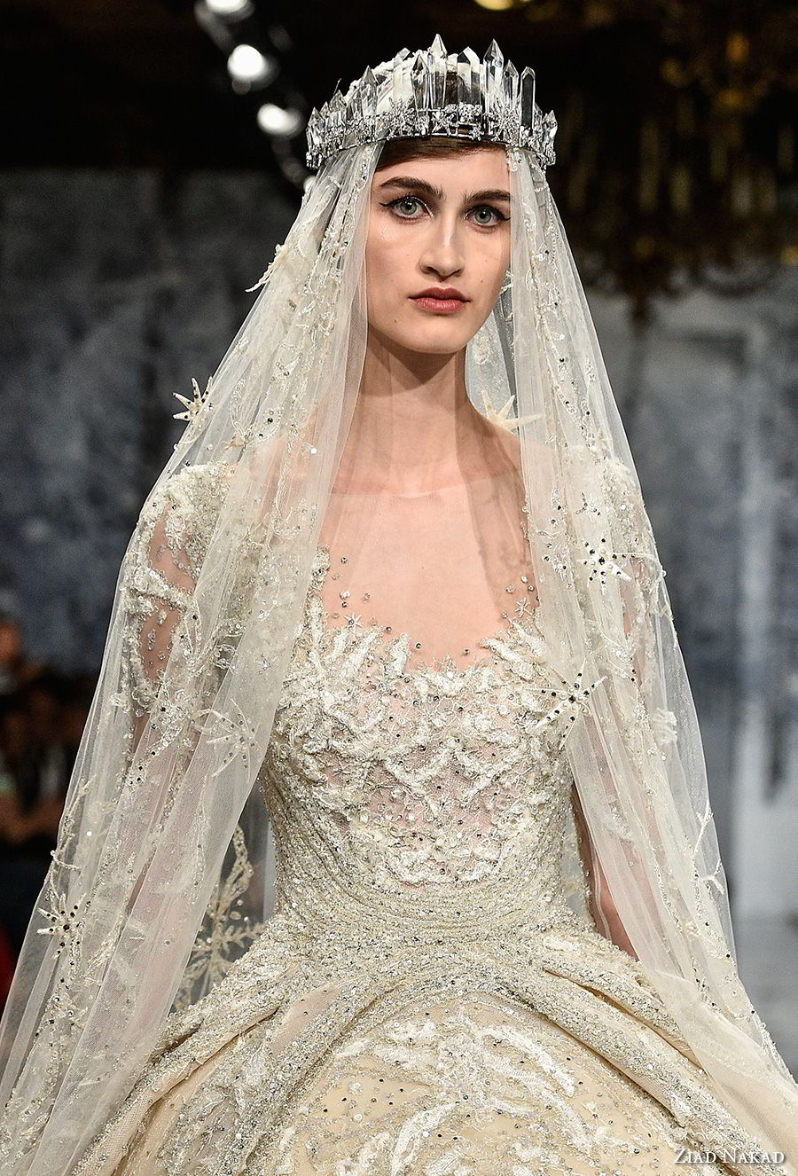 ziad nakad couture fall 2017 long sleeves scoop neckline full embellishment princess glamorous ball gown a  line wedding dress sheer keyhole back royal train (29) zv