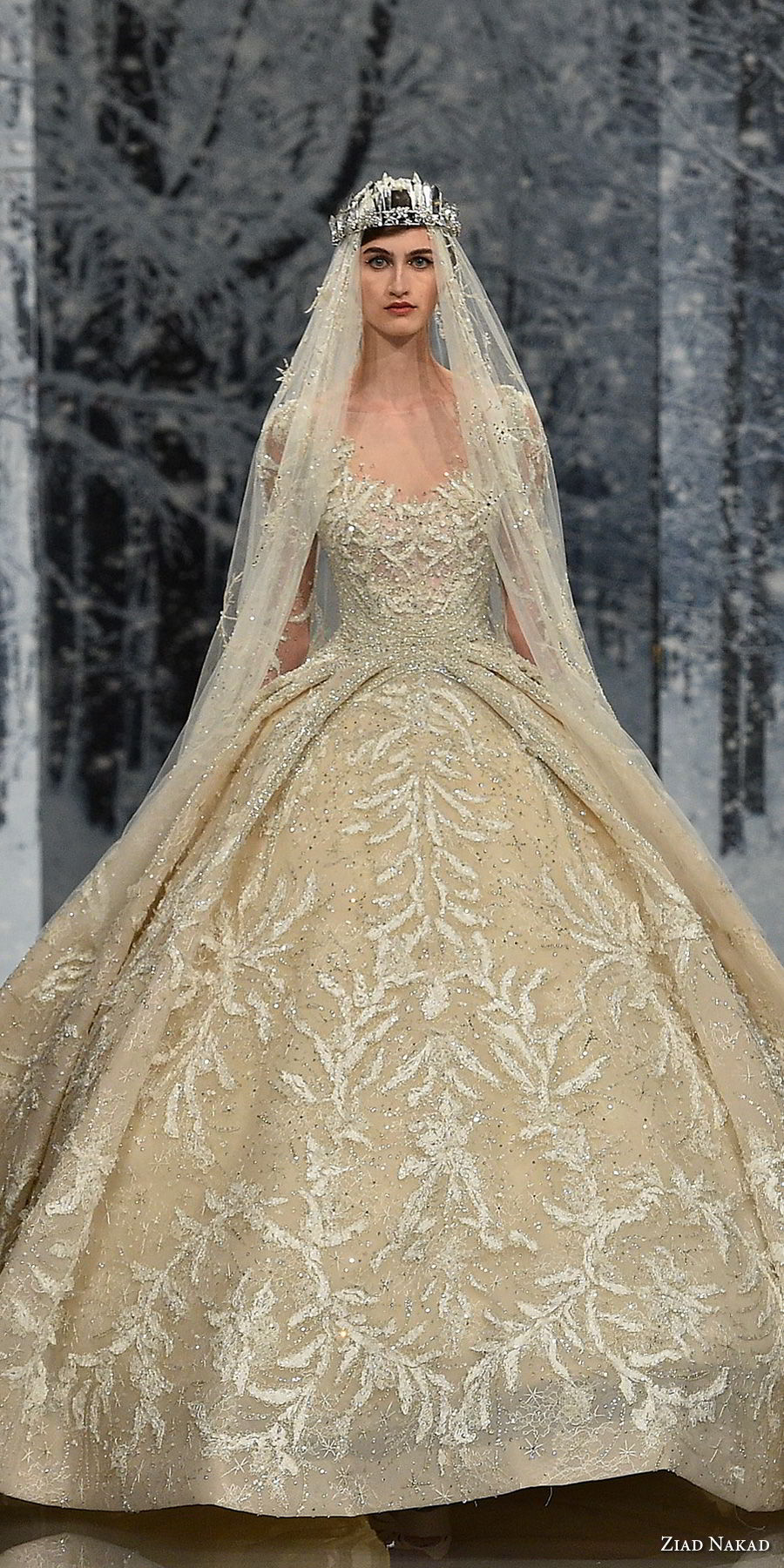 ziad nakad couture fall 2017 long sleeves scoop neckline full embellishment princess glamorous ball gown a line wedding dress sheer keyhole back royal train (29) zv mv