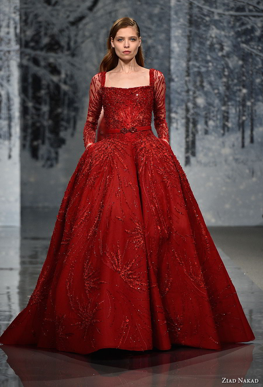 ziad nakad couture fall 2017 long sleeves straight across neckline heavily embellished beaded bodice princess glamorous red ball gown a line wedding dress open back chapel train (23) mv