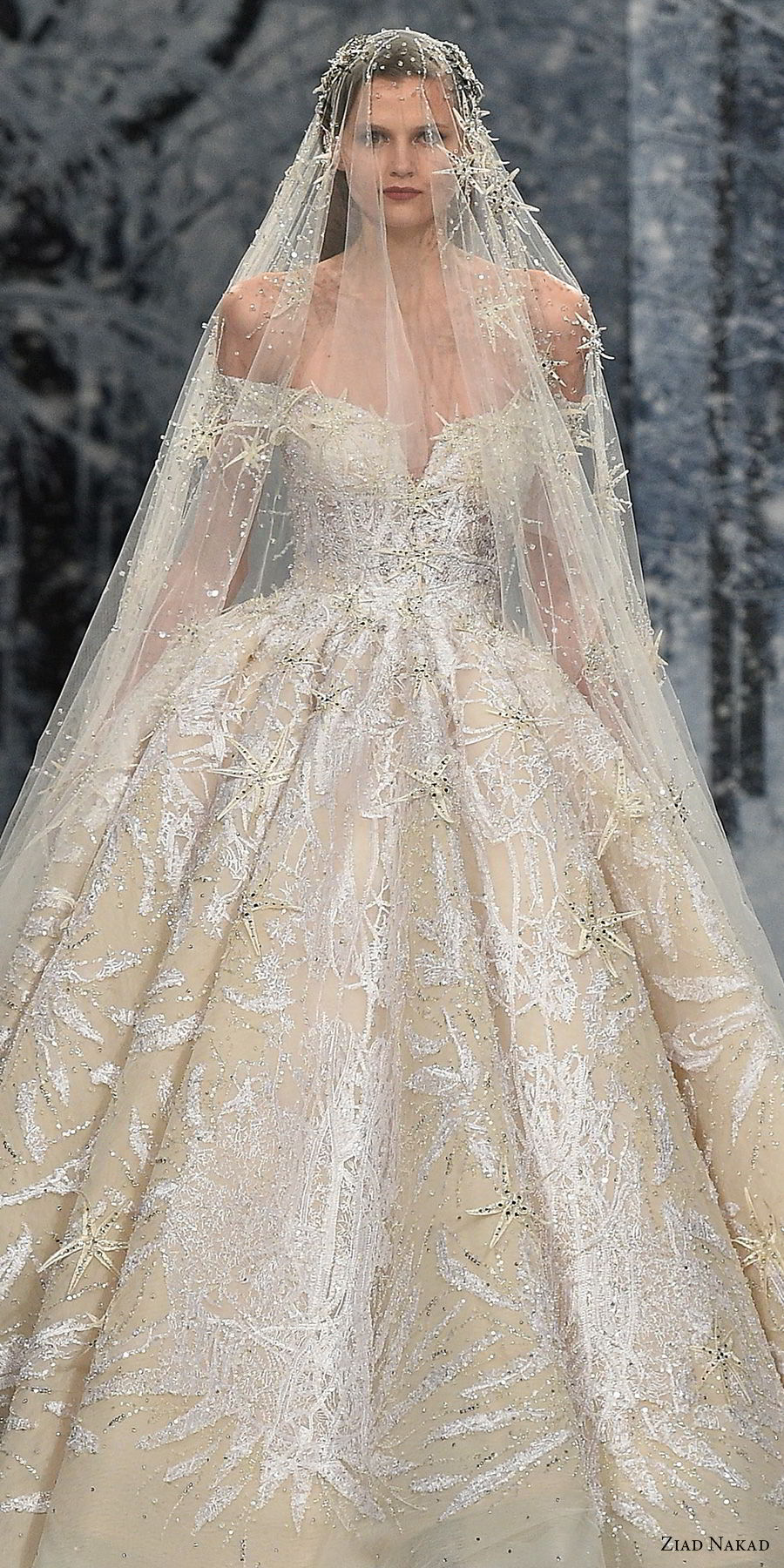 ziad nakad couture fall 2017 off the shoulder v neck full embellishment glamorous princess ball gown a line wedding dress open v back royal train (1) zv