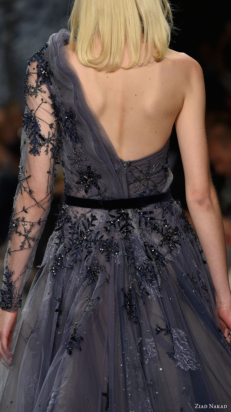ziad nakad couture fall 2017 one shoulder heavily embellished bodice glamorous romantic purple gray a  line wedding dress open back medium train (19) zbv