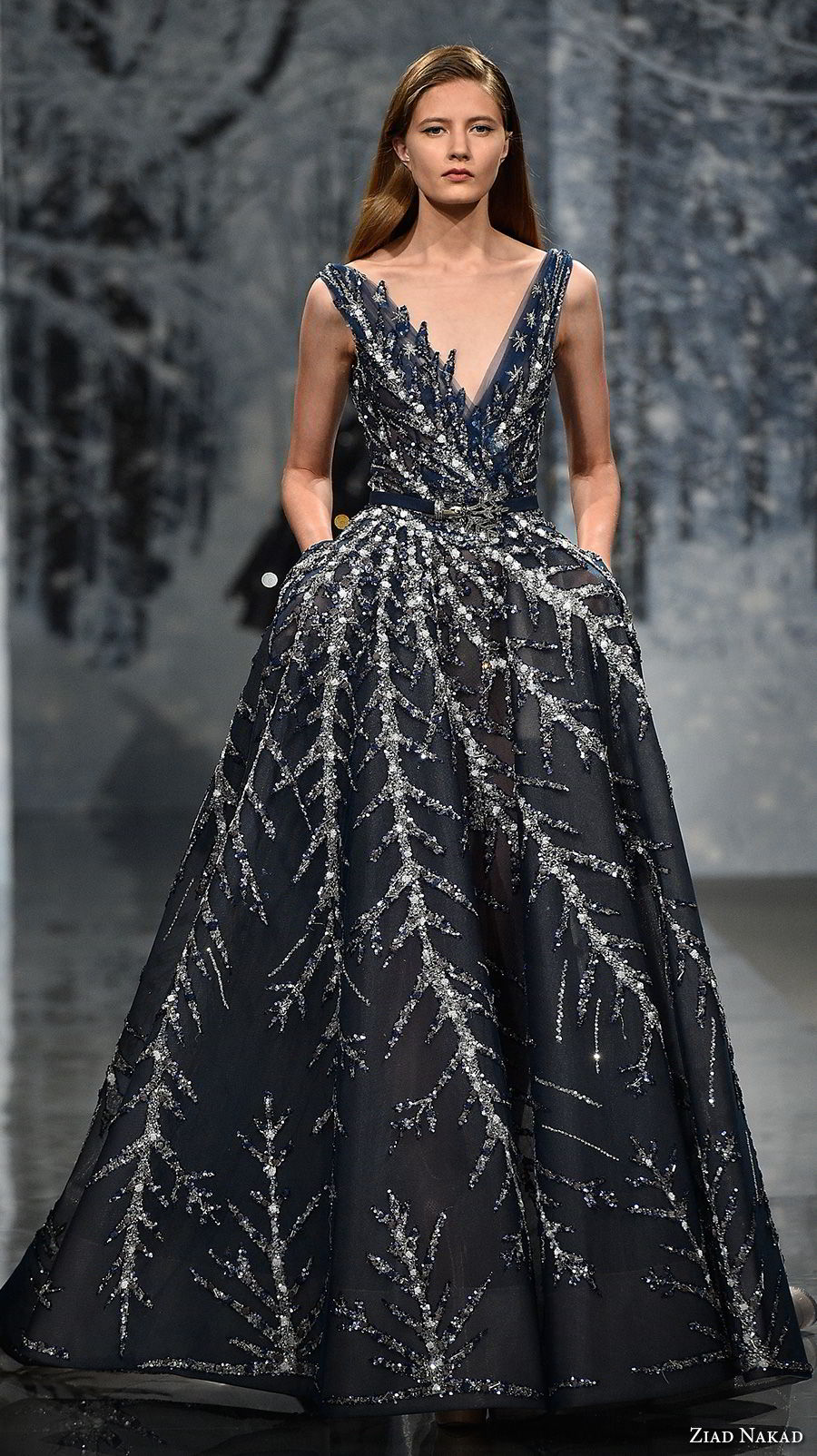 ziad nakad couture fall 2017 sleeveless deep v neck full metallic embellishment elegant glamorous dark navy blue a line wedding dress open v back chapel train (18) mv