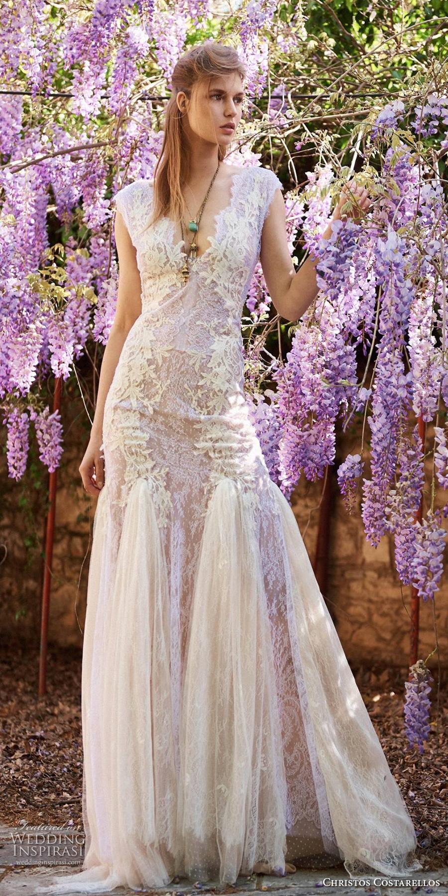 christos costarellos spring 2018 bridal cap sleeves deep v neck full embellishment romantic drop waist a  line wedding dress open v back sweep train (36) mv