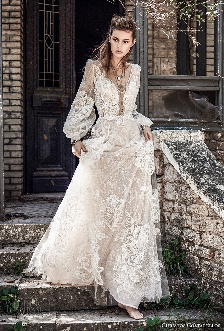 christos costarellos spring 2018 bridal long bishop sleeves v neck full lace embellishment bohemian elegant a  line wedding dress (70) mv
