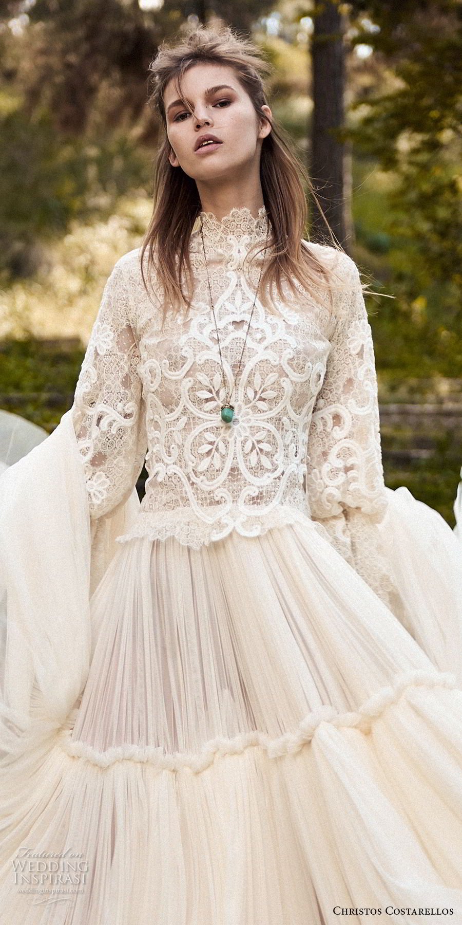 christos costarellos spring 2018 bridal long sleeves hgh neck heavily embellished bodice bohemian romantic modest a  line wedding dress (45) zv