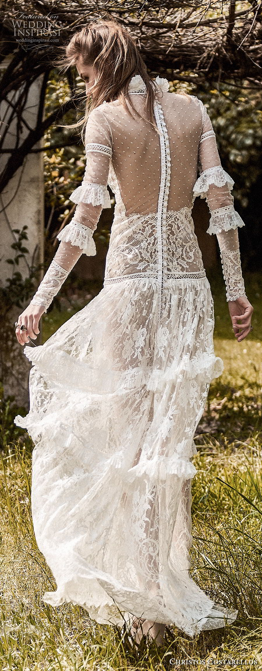 christos costarellos spring 2018 bridal long sleeves high neck full lace embellishment bohemian a  line wedding dress sheer back sweep train (32) bv