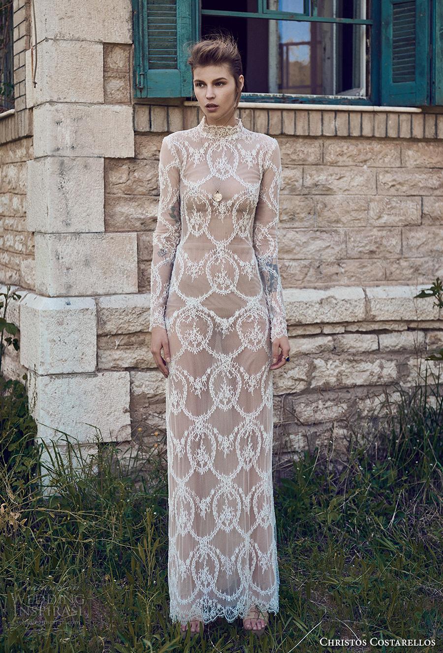 christos costarellos spring 2018 bridal long sleeves high neck full lace embellishment elegant sheah wedding dress 80 mv