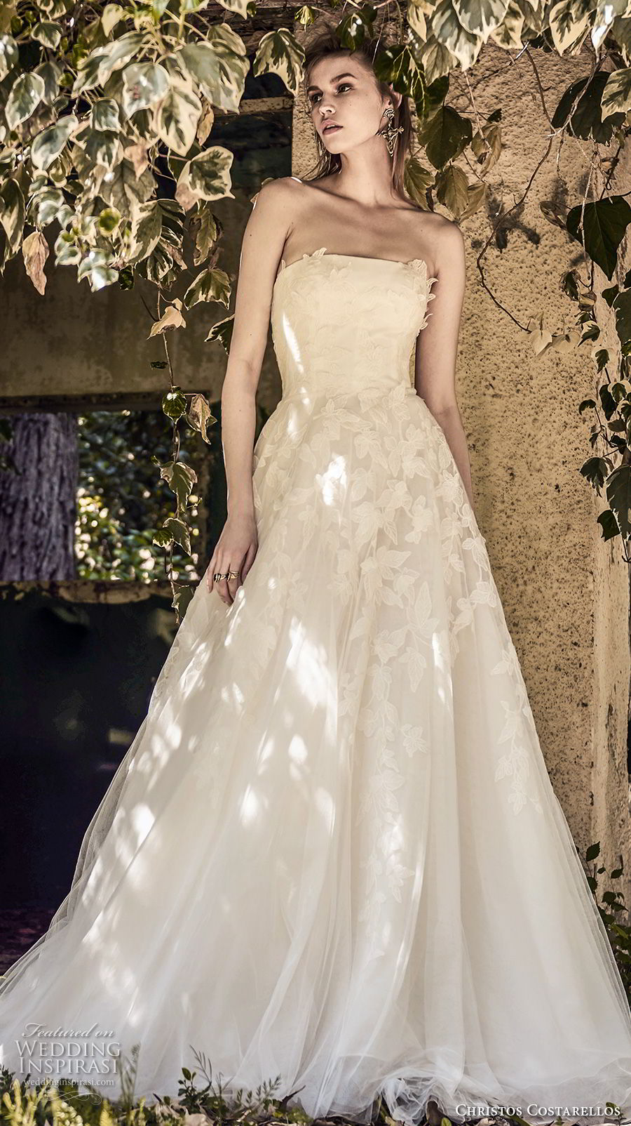 christos costarellos spring 2018 bridal strapless straight across neckline heavily embellished bodice romantic a line wedding dress medium train (48) mv