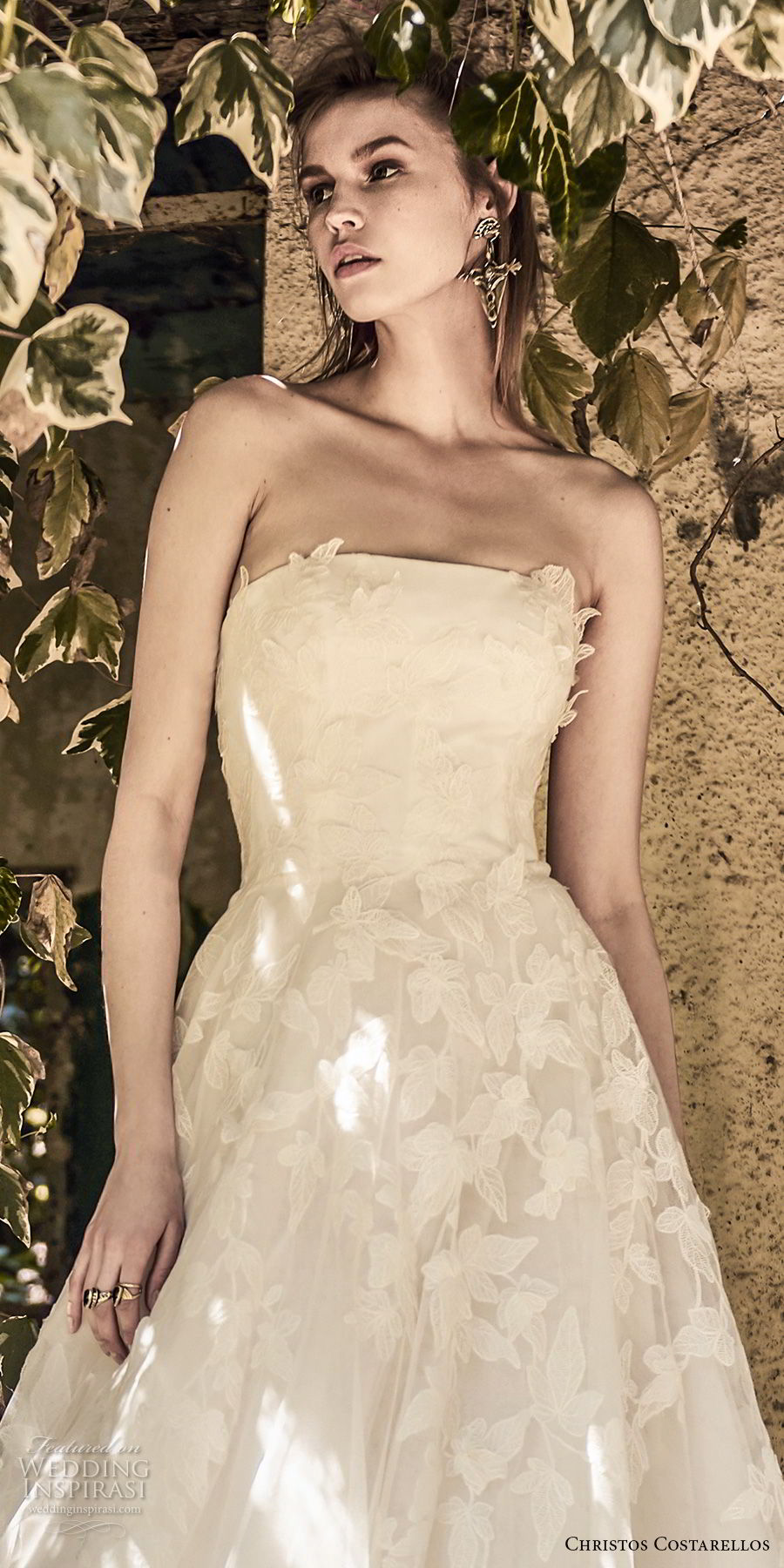 christos costarellos spring 2018 bridal strapless straight across neckline heavily embellished bodice romantic a line wedding dress medium train (48) zv