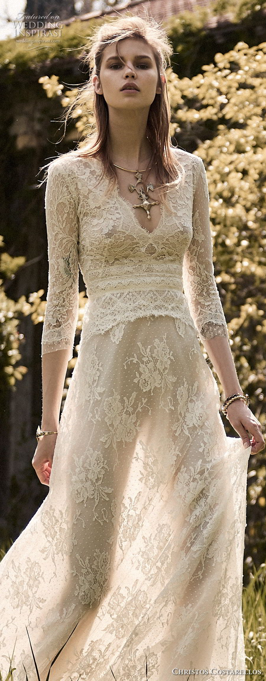 christos costarellos spring 2018 bridal three quarter sleeves v neck full embellishment romantic bohemian soft a  line wedding dress medium train (33) zv