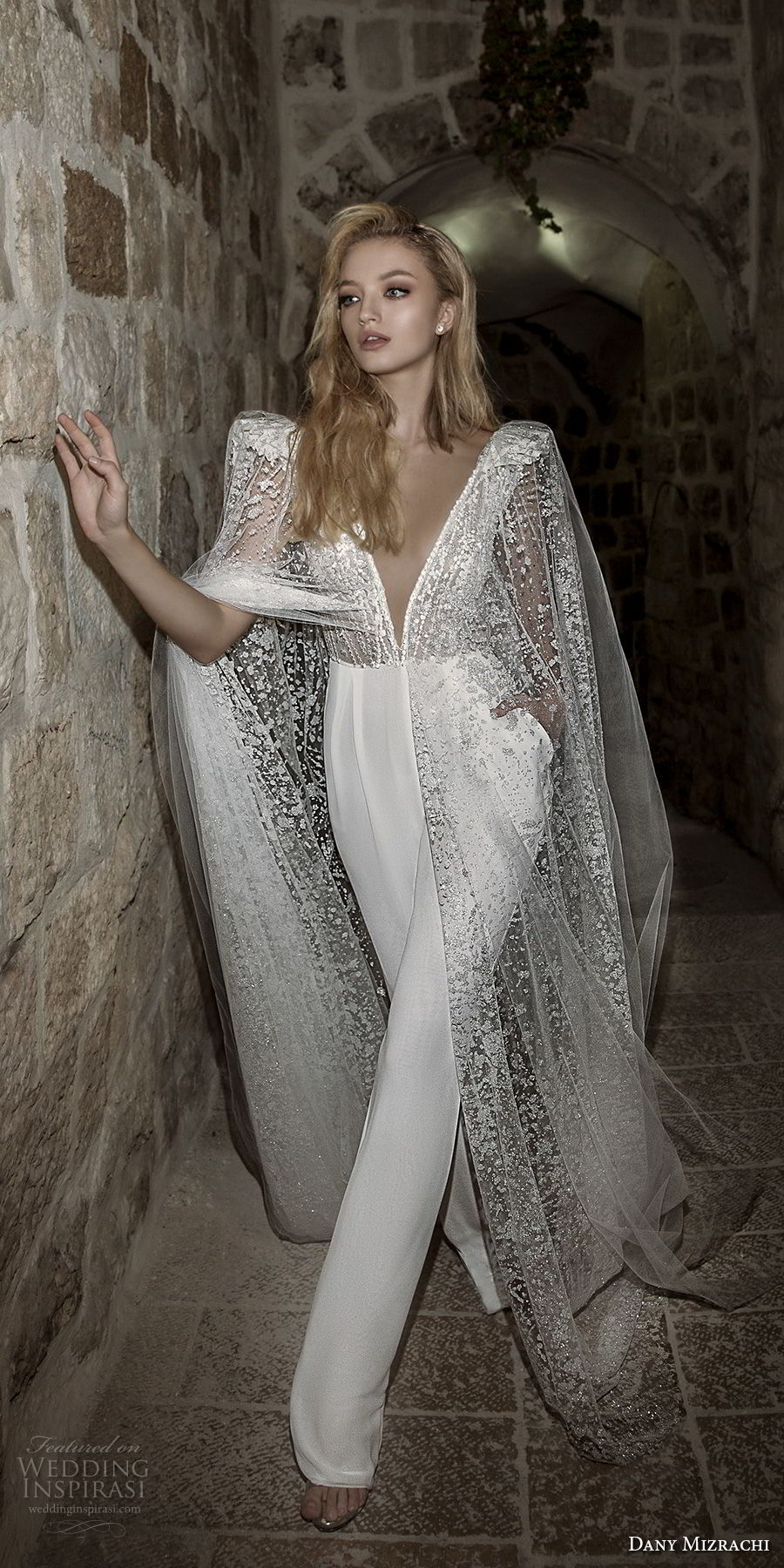 dany mizrachi spring 2018 bridal cap sleeves deep plunging v neck heavily embellished bodice sophiscated jumpsuit wedding dress open v back (36) mv