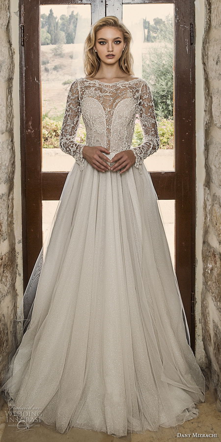 dany mizrachi spring 2018 bridal long sleeves bateau neck heavily embellished bodice glamorous a  line wedding dress open v back sweep train (4) mv fv