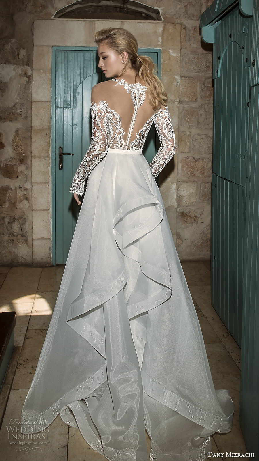 dany mizrachi spring 2018 bridal long sleeves off the shoulder deep plunging sweetheart neckline full embellishment sexy a  line wedding dress sheer back sweep train (2) bv