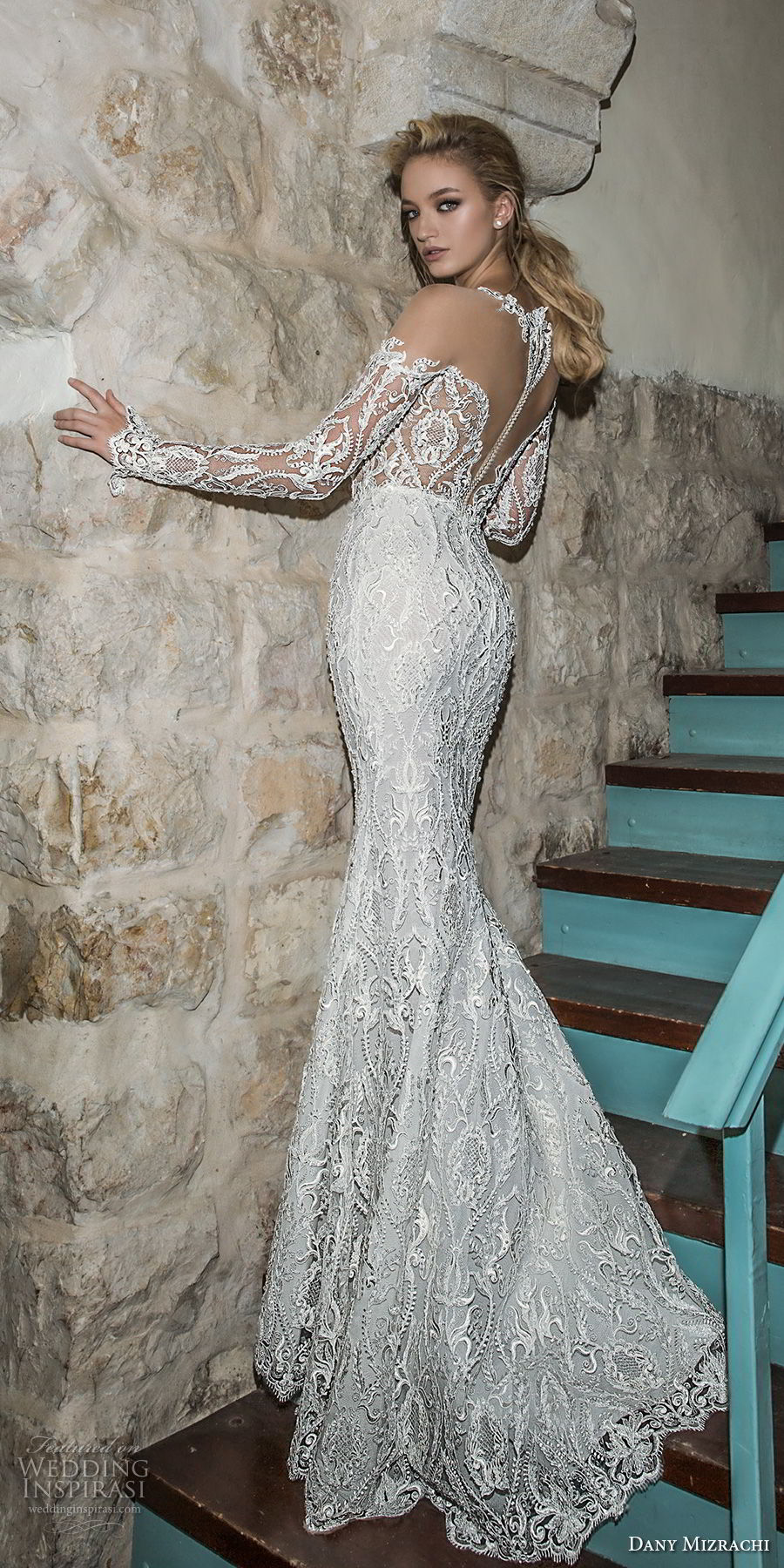 dany mizrachi spring 2018 bridal long sleeves off the shoulder deep plunging sweetheart neckline full embellishment sexy fit and flare mermaid wedding dress sheer back sweep train (2) bv