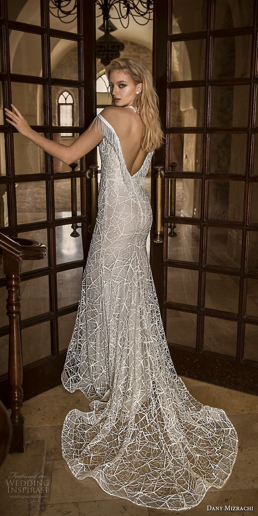 dany mizrachi spring 2018 bridal off the shoulder deep plunging v neck full embellishment elegant fit and flare wedding dress open v back chapel train (24) bv