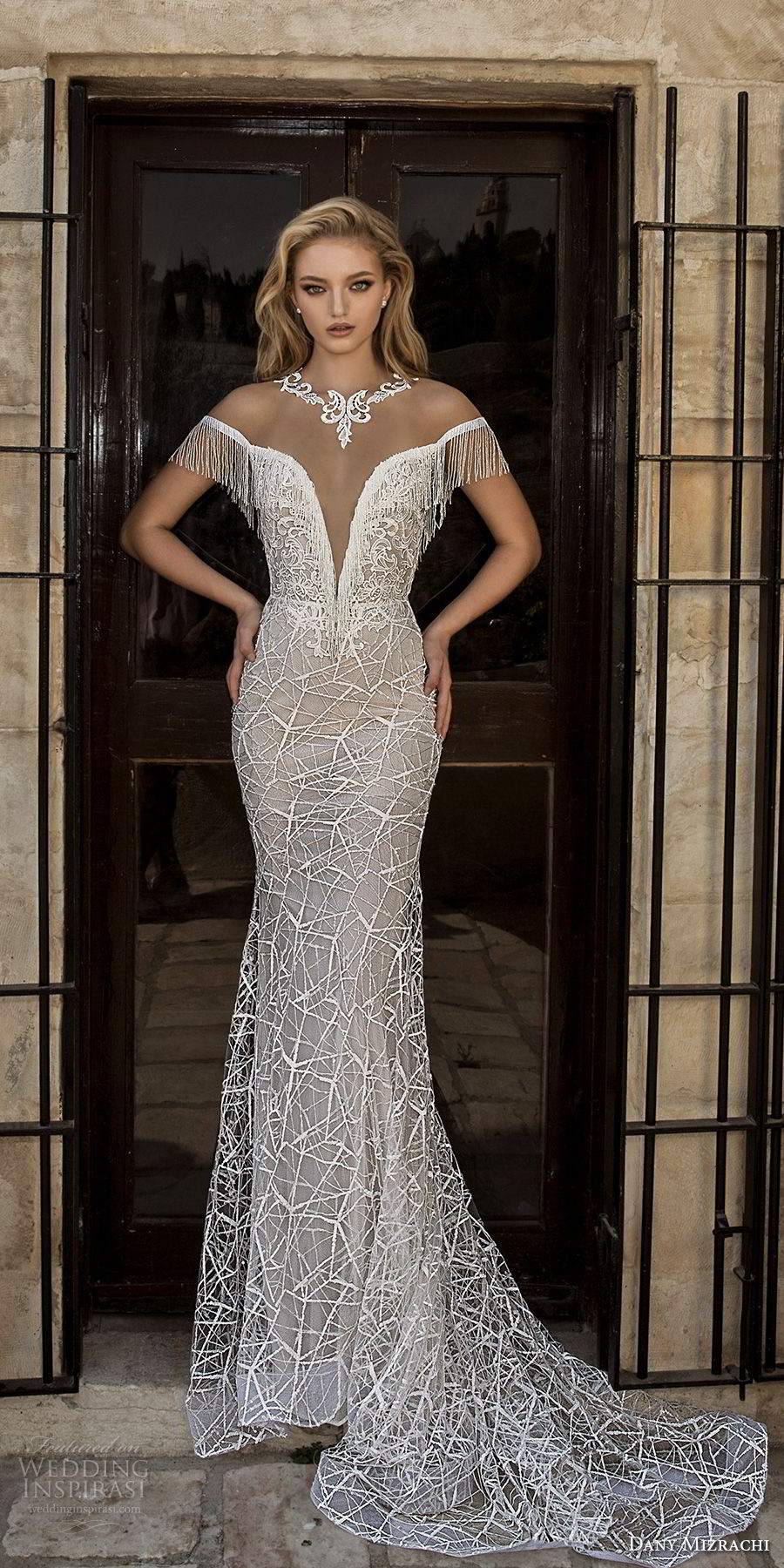 dany mizrachi spring 2018 bridal off the shoulder deep plunging v neck full embellishment elegant fit and flare wedding dress open v back chapel train (24) mv