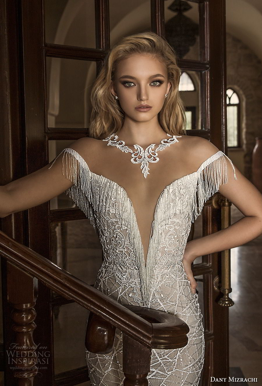 dany mizrachi spring 2018 bridal off the shoulder deep plunging v neck full embellishment elegant fit and flare wedding dress open v back chapel train (24) zv
