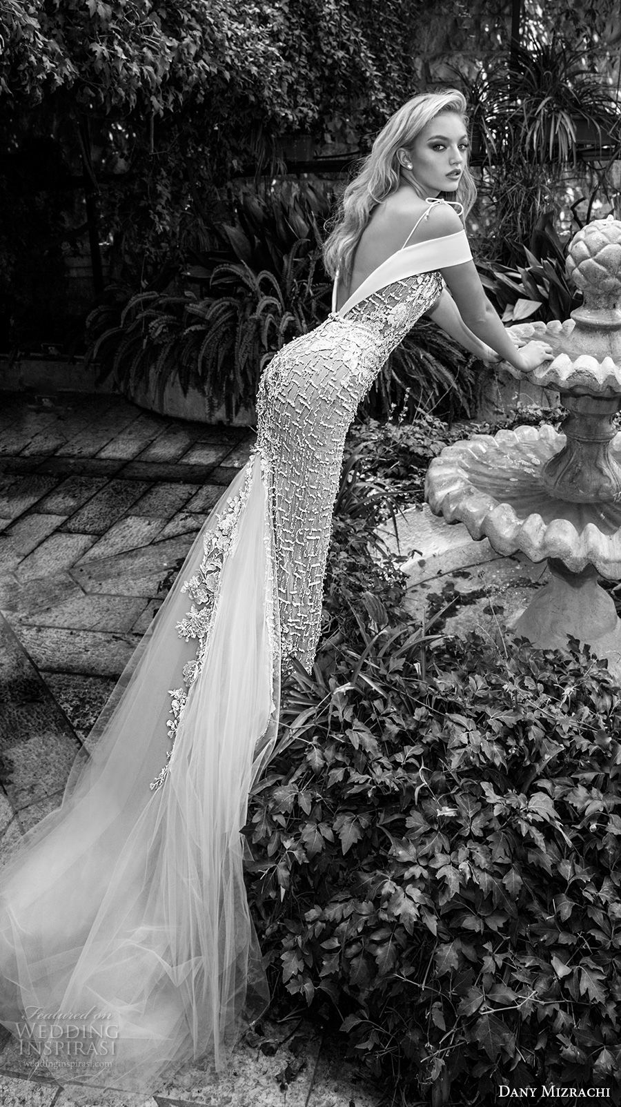 dany mizrachi spring 2018 bridal off the shoulder deep plunging v neck full embellishment elegant sheath wedding dress open v back chapel train (21) bv