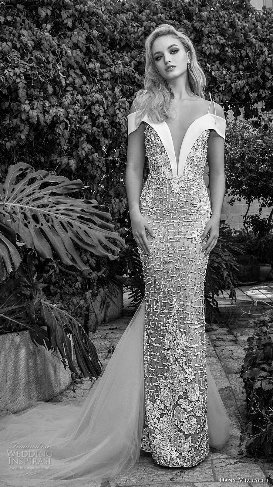 dany mizrachi spring 2018 bridal off the shoulder deep plunging v neck full embellishment elegant sheath wedding dress open v back chapel train (21) mv