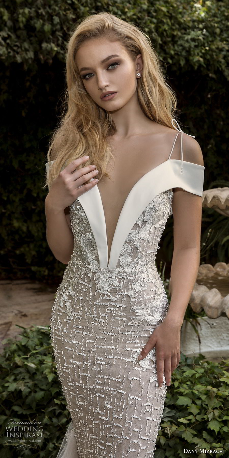 dany mizrachi spring 2018 bridal off the shoulder deep plunging v neck full embellishment elegant sheath wedding dress open v back chapel train (21) zv