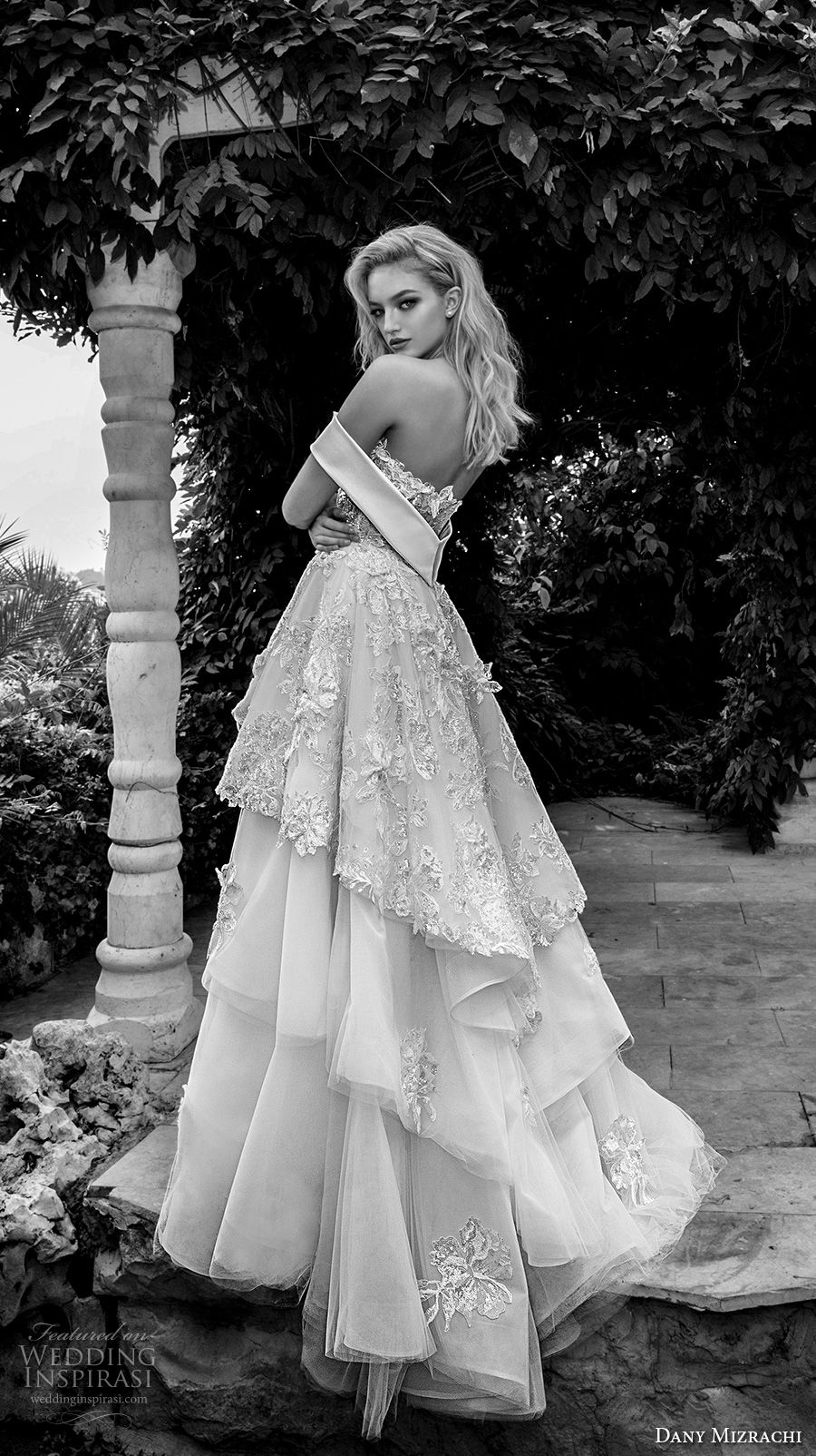 dany mizrachi spring 2018 bridal off the shoulder heavily embellished bodice layered skirt princess ball gown a  line wedding dress chapel train (25) bv