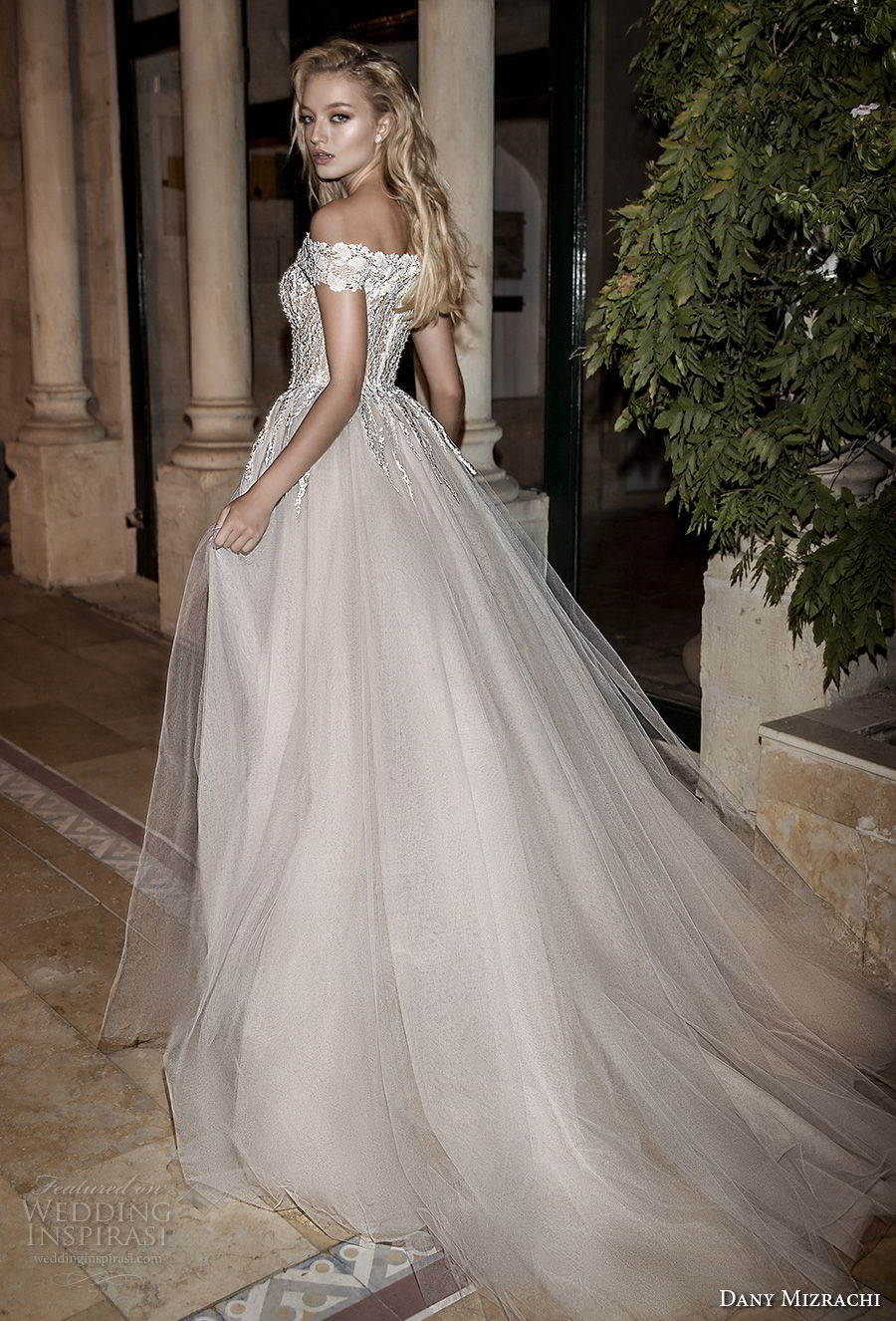 dany mizrachi spring 2018 bridal off the shoulder straight across neckline heavily embellished bodice high slit romantic sexy a  line weddng dress chapel train (28) bv