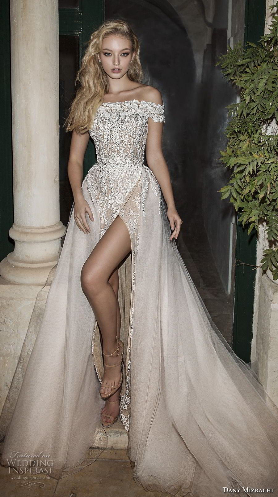 dany mizrachi spring 2018 bridal off the shoulder straight across neckline heavily embellished bodice high slit romantic sexy a  line weddng dress chapel train (28) mv