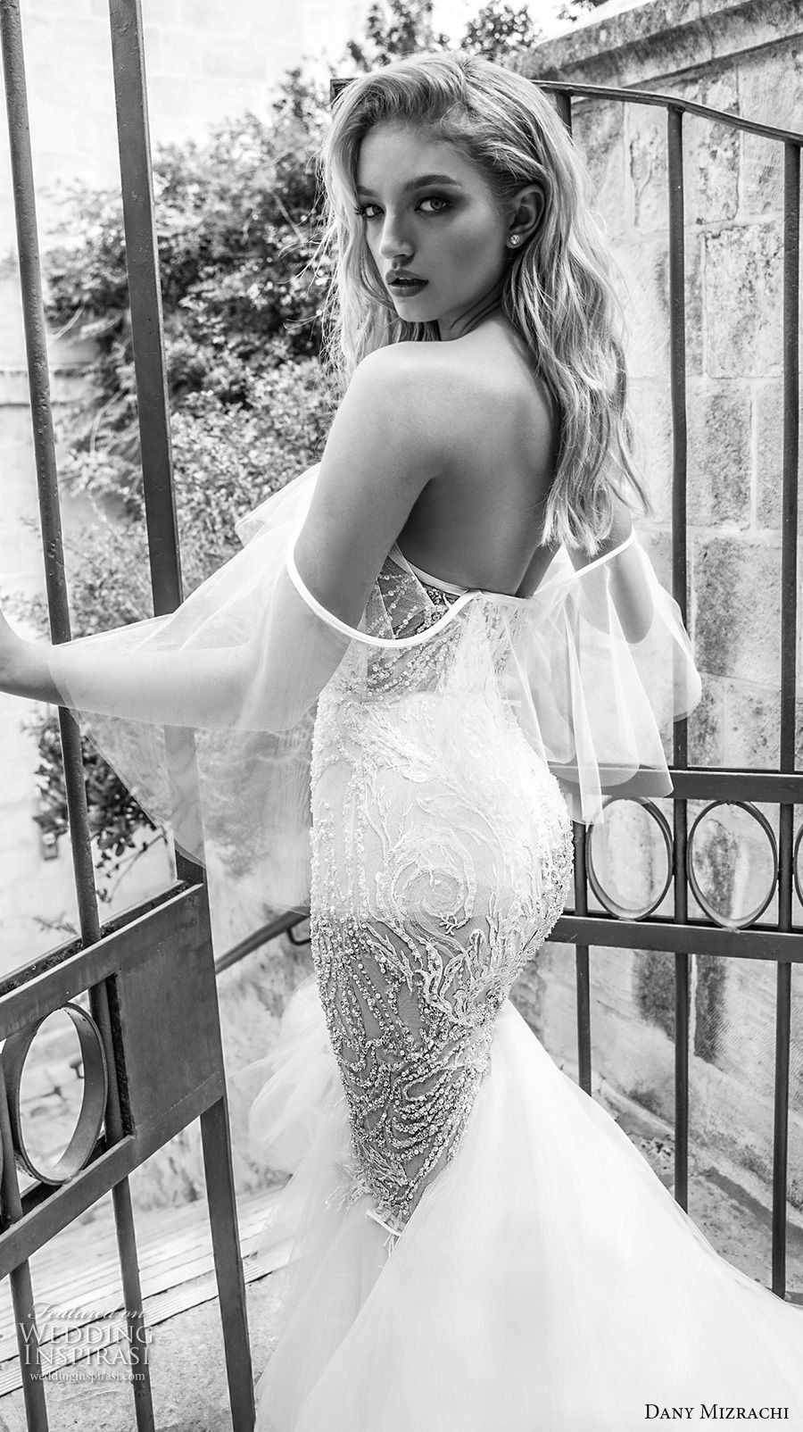 dany mizrachi spring 2018 bridal off the shoulder sweetheart neckline full embellishment elegant sexy mermaid wedding dress chapel train (22) zbv