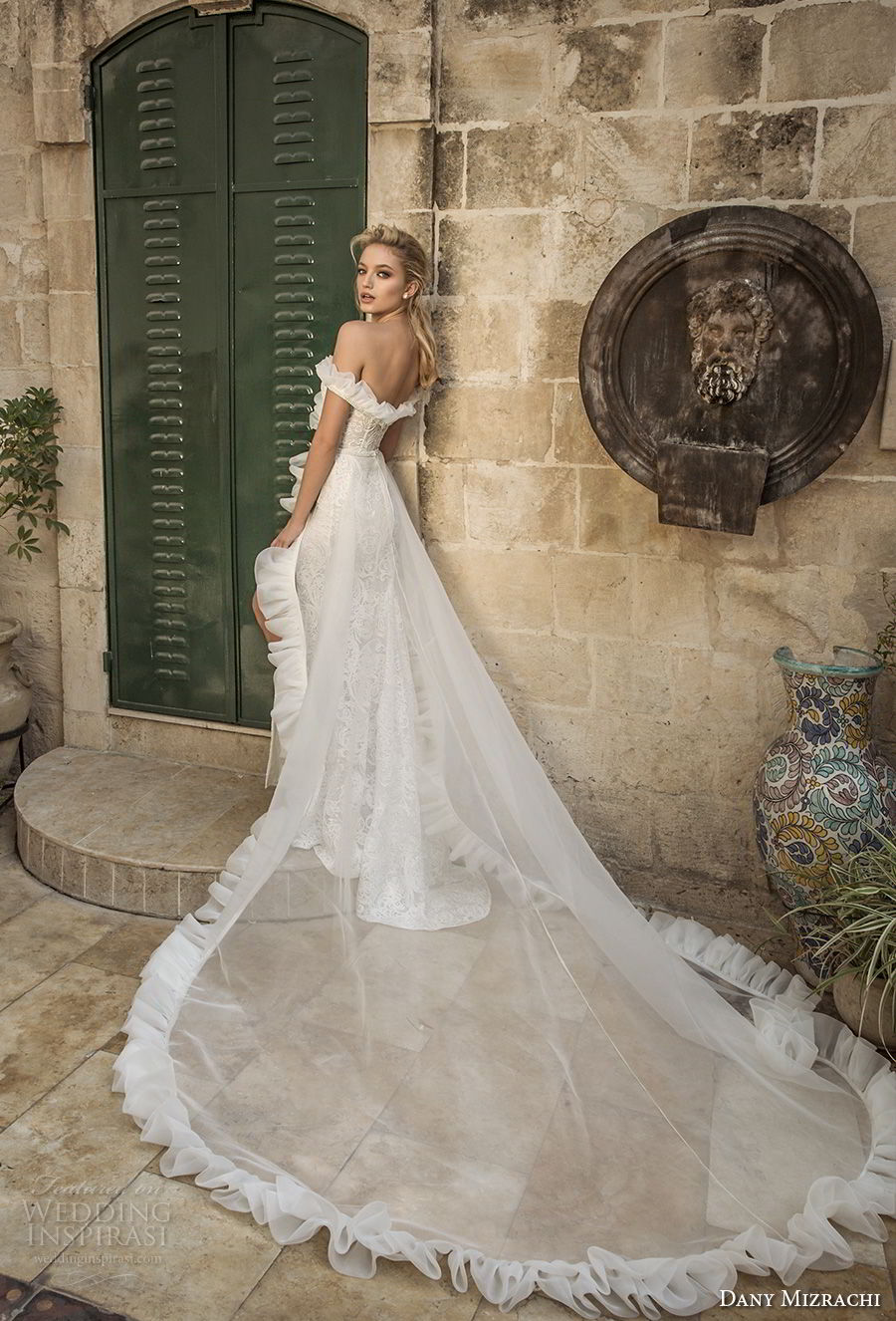 dany mizrachi spring 2018 bridal off the shoulder sweetheart neckline full embellishment high slit sheath wedding dress chapel train (11) bv